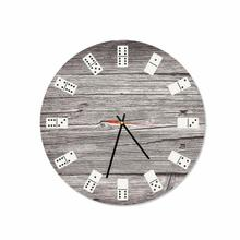 Wooden Dominoes Round Square Acrylic Wall Clock