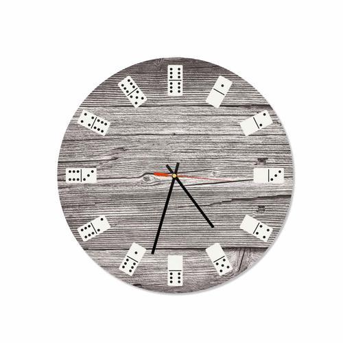 Grako Design - Wooden Dominoes Round Square Acrylic Wall Clock