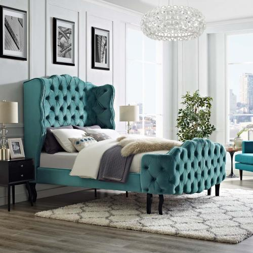 Violette Queen Tufted Wingback Performance Velvet Platform Bed in Sea Blue