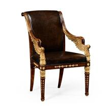 Empire angel armchair with antique caviar black leather