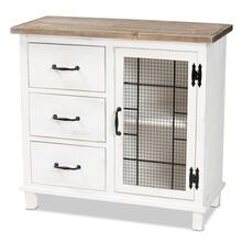 See Details - Baxton Studio Faron Classic and Traditional Farmhouse Two-Tone Distressed White and Oak Brown Finished Wood 3-Drawer Storage Cabinet