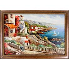 House On The Cliff Framed Hand Painted Art, Oil on Canvas