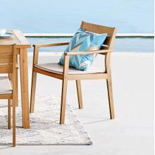 Viewscape Outdoor Patio Ash Wood Dining Armchair in Natural Taupe