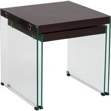 View Product - Wynwood Collection Dark Ash Wood Grain Finish Nesting Tables with Glass Frame