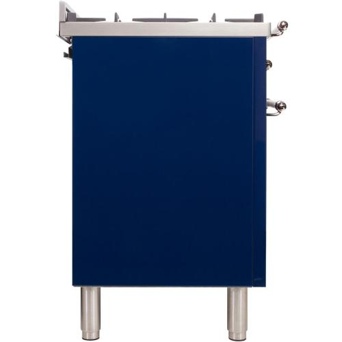 Nostalgie 30 Inch Dual Fuel Natural Gas Freestanding Range in Blue with Chrome Trim