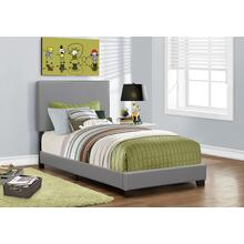 See Details - BED - TWIN SIZE / GREY LEATHER-LOOK