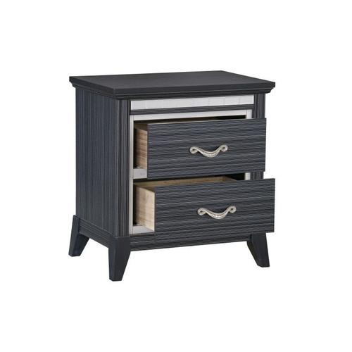 Anaheim 2-Drawer Nightstand with USB Charger, Black