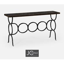 See Details - Dark Ale Console with Circular Wrought Iron Base