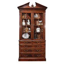 Mahogany glazed display cabinet with pediment