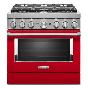 KitchenAidKitchenAid® 36'' Smart Commercial-Style Dual Fuel Range with 6 Burners - Passion Red