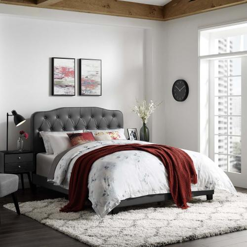 Amelia Queen Faux Leather Bed in Gray