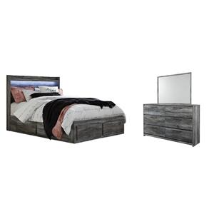 Queen Panel Bed With 6 Storage Drawers With Mirrored Dresser