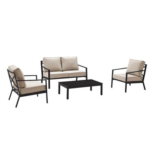 Metal X Back Upholstered Outdoor Accent Chair in Black / Beige