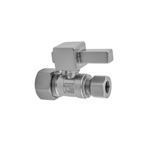"""Satin Nickel - Quarter Turn Straight Pattern 5/8"""" O.D. Compression (Fits 1/2"""" Copper) x 1/2"""" O.D. Supply Valve with Square Lever Handle"""