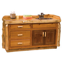 Vanity Base - 60-inch - Natural Cedar - Double Sink
