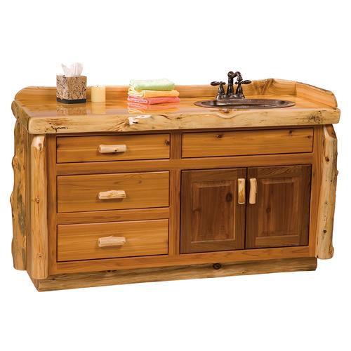 Vanity Base - 60-inch - Natural Cedar - Sink Left