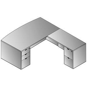 """Kenwood L Shape W/bow Top Desk 72""""x87"""""""