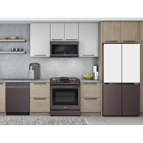 Samsung - 2.1 cu. ft. Smart BESPOKE Over-the-Range Microwave with Sensor Cooking in Fingerprint Resistant Tuscan Stainless Steel