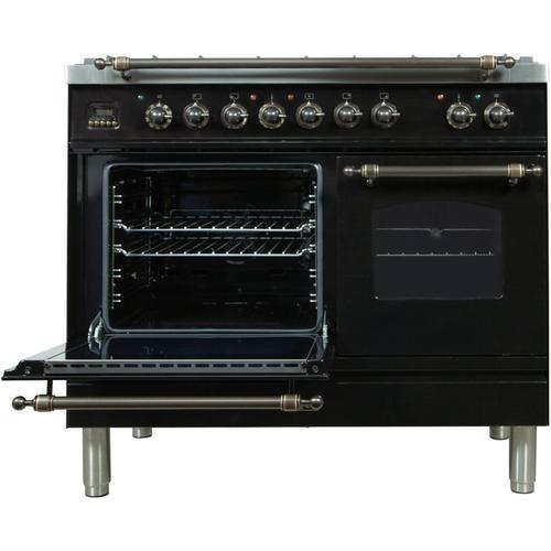40 Inch Glossy Black Dual Fuel Liquid Propane Freestanding Range