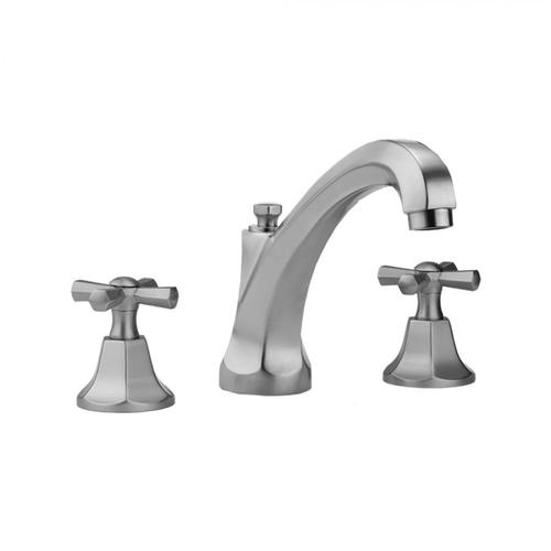 Jaclo - Antique Brass - Astor High Profile Faucet with Hex Cross Handles & Fully Polished & Plated Pop-Up Drain
