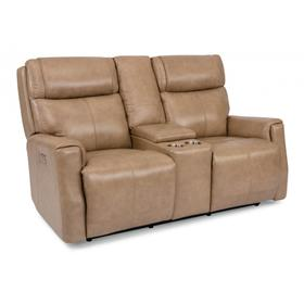 Holton Power Reclining Loveseat with Console & Power Headrests