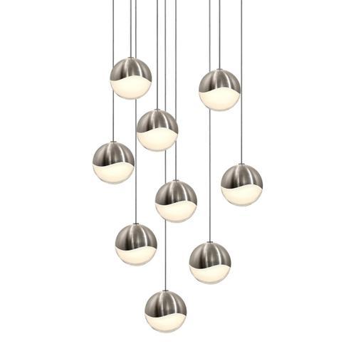 Sonneman - A Way of Light - Grapes® LED Pendant [Size=9-Light Medium, Color/Finish=Satin Nickel, Shape=Round Canopy]