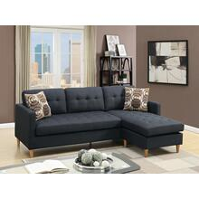 Monroe 2pc Sectional Sofa Set, Black