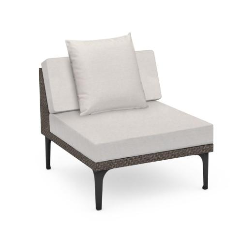 """32"""" Outdoor Dark Grey Rattan 1 Seat Centre Sofa Sectional, Upholstered in COM"""