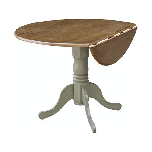 Round Dropleaf Pedestal Table in Hickory Stone
