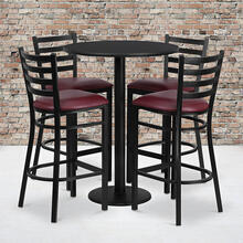 Product Image - 30'' Round Black Laminate Table Set with Round Base and 4 Ladder Back Metal Barstools - Burgundy Vinyl Seat