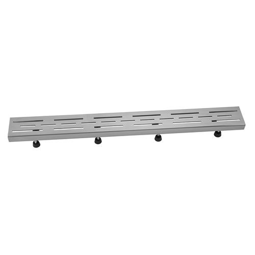"""Brushed Stainless - 24"""" Channel Drain Slotted Line Hole Grate"""