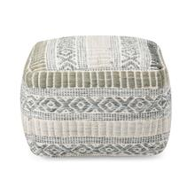 Pavia Blue Grey Handwoven Pouf