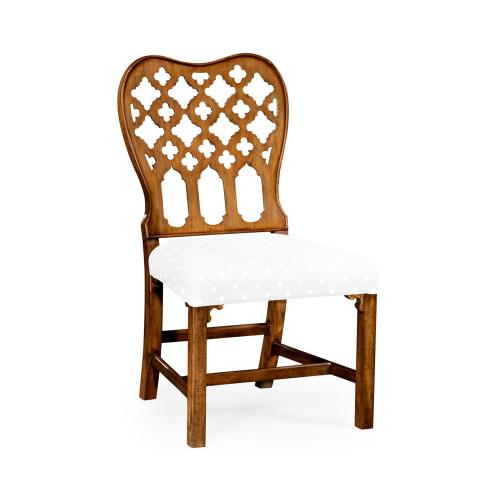 Kingsley Grey Fruitwood Side Chair, Upholstered in COM