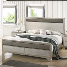 See Details - Keila Contemporary Faux Leather Upholstery Champagne Silver Finish Wood QUEEN & KING Bed, King