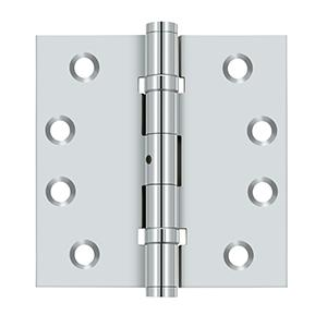 "4"" x 4"" Square Hinges, Ball Bearings - Polished Chrome"