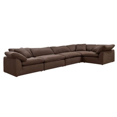 Cloud Puff Slipcovered Modular Sectional Sofa (5 Piece)