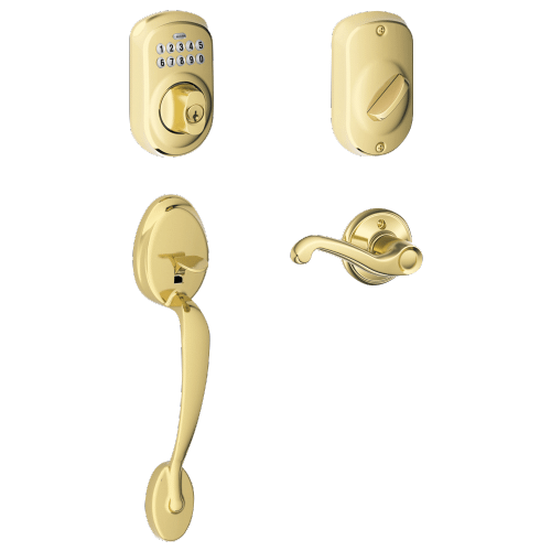 Schlage - Plymouth Style Keypad Deadbolt and Handleset with Flair Lever - Bright Brass