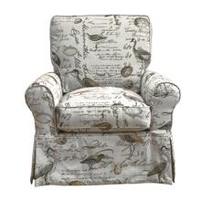 Sunset Trading Horizon Slipcovered Box Cushion Swivel Rocking Chair  Bird Script  Color: 854825