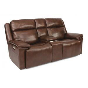 Flexsteel  Chance Power Reclining Loveseat with Console & Power Headrests