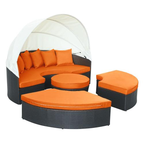 Quest Canopy Outdoor Patio Daybed in Espresso Orange