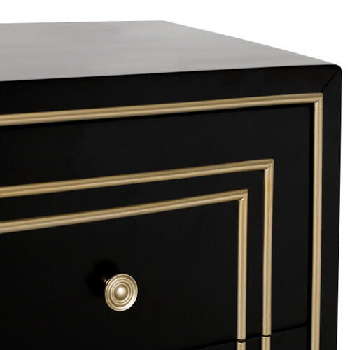 Accentrics Home - Modern Style Black with Champagne Gold Overlay Accent Drawer Chest