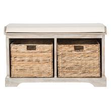 See Details - Freddy Wicker Storage Bench - Vintage White