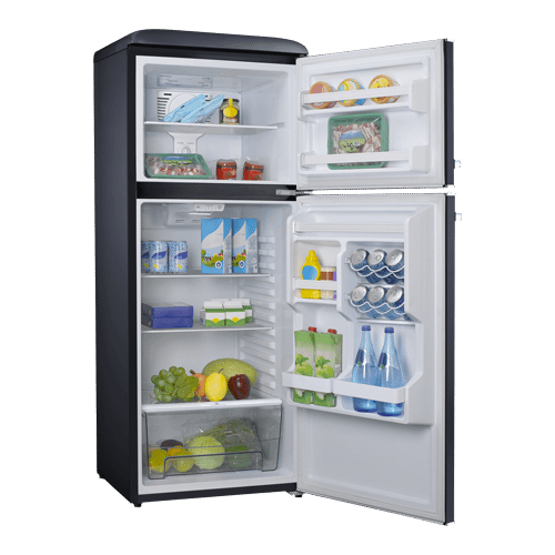 Galanz 10 Cu Ft Retro Top Mount Refrigerator in Vinyl Black