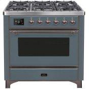 Majestic II 36 Inch Dual Fuel Natural Gas Freestanding Range in Blue Grey with Bronze Trim