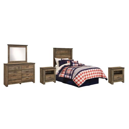 Twin Panel Headboard With Mirrored Dresser and 2 Nightstands