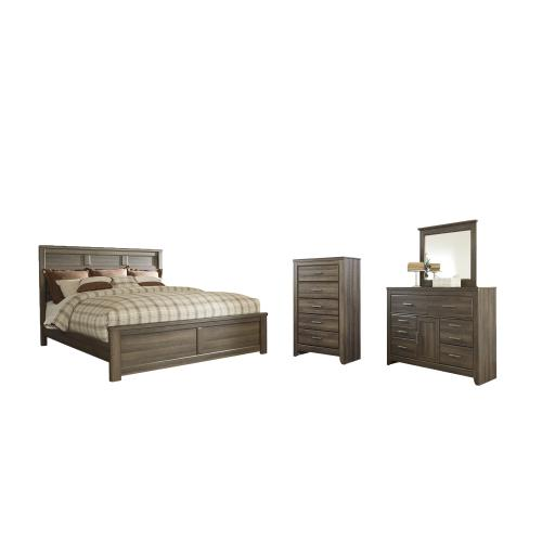 Ashley - California King Panel Bed With Mirrored Dresser and Chest