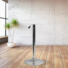 See Details - 23.75'' Round Adjustable Height White Wood Table (Adjustable Range 26.25'' - 35.75'')