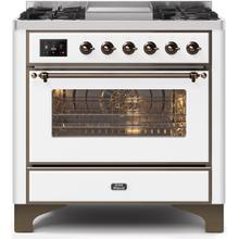 Majestic II 36 Inch Dual Fuel Natural Gas Freestanding Range in White with Bronze Trim