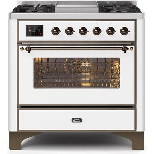 Gallery - Majestic II 36 Inch Dual Fuel Natural Gas Freestanding Range in White with Bronze Trim