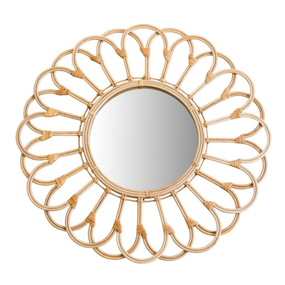 """Mirror 27"""" Wicker Looped, Natural"""